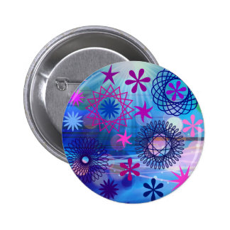 Colorful Bold Stars and Light Rays Funky Design Button