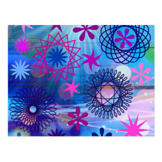 Colorful Bold Stars and Light Rays Funky Design Postcard