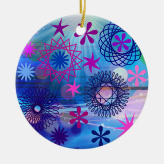 Colorful Bold Stars and Light Rays Funky Design Round Ceramic Decoration