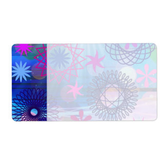 Colorful Bold Stars and Light Rays Funky Design Shipping Label