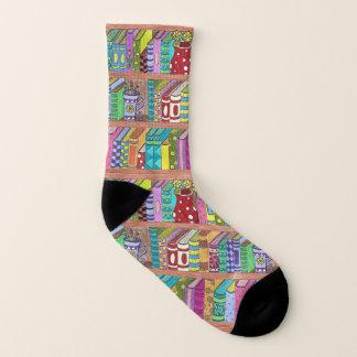 Colorful books on shelves socks 1
