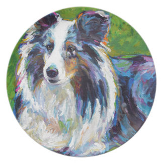 Colorful BORDER COLLIE Plate