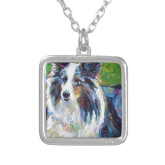 Colorful BORDER COLLIE Silver Plated Necklace