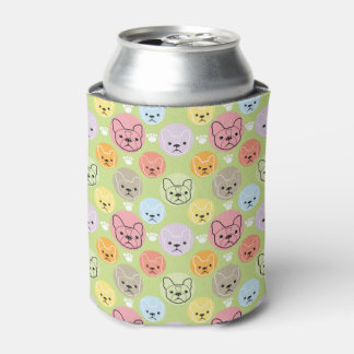colorful Boston terrier patterns Can Cooler