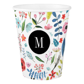 Colorful Botanical Flowers Custom Monogram Paper Cup