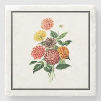Colorful Botanical Flowers Illustration Stone Coaster
