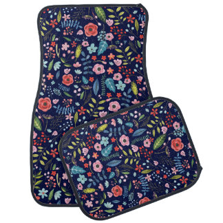 Colorful Botanical Flowers & Leafs Pattern Car Mat