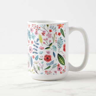 Colorful Botanical Flowers & Leafs Pattern Coffee Mug