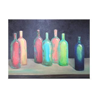 Colorful bottles canvas print