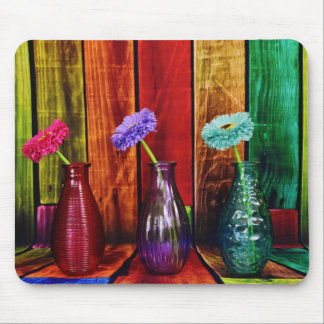 Colorful Bottles Flowers and Wood Mousepad