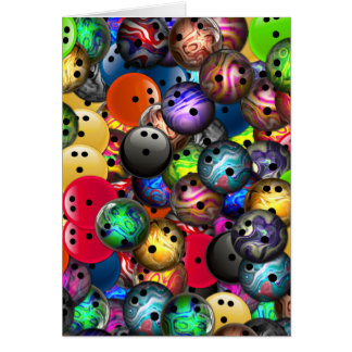 Colorful Bowling Balls Collage Card