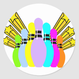 Colorful Bowling Pins Classic Round Sticker