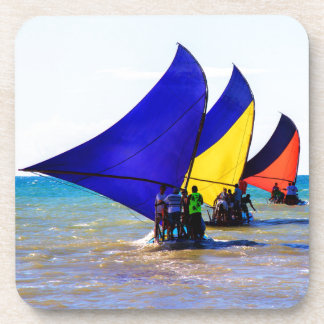Colorful Brazilian Jangadas sailboats Coaster