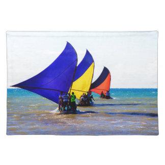 Colorful Brazilian Jangadas sailboats Placemat