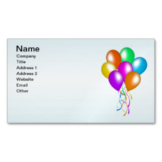 Colorful Bright Bunch of Balloons Magnetic Business Cards