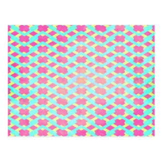 Colorful Bright Chevron Zig Zag Vintage Hot Pink Post Card