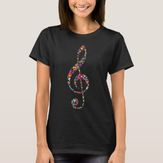 Colorful Bright Cool Heart-Filled Treble G Clef T-Shirt