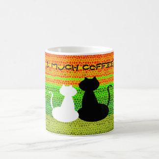 Colorful Bright Mosaic Stripes Coffee Cat Cheerful Coffee Mug