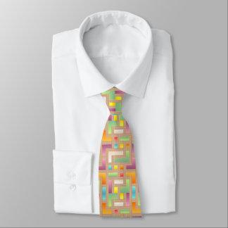 colorful bright square. green purple, blue, yellow tie