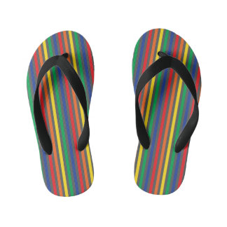 Colorful, Bright Striped Boy Flip Flops Thongs