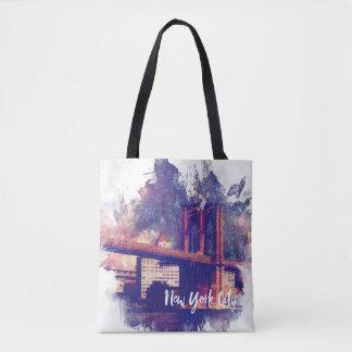 Colorful Brooklyn Bridge Painting Tote Bag