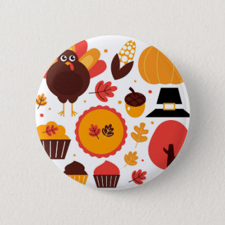 Colorful brown autumn bird with elements 6 cm round badge