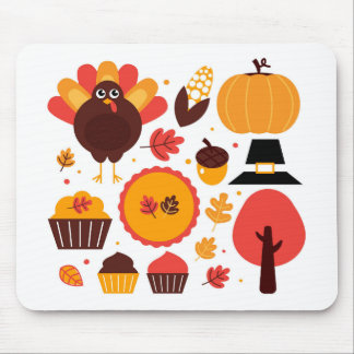 Colorful brown autumn bird with elements mouse pad