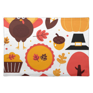 Colorful brown autumn bird with elements placemat
