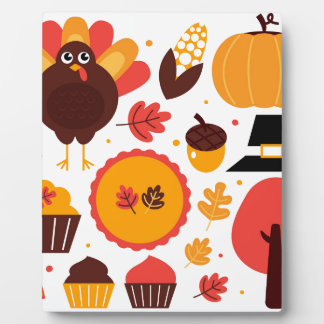 Colorful brown autumn bird with elements plaque