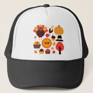 Colorful brown autumn bird with elements trucker hat