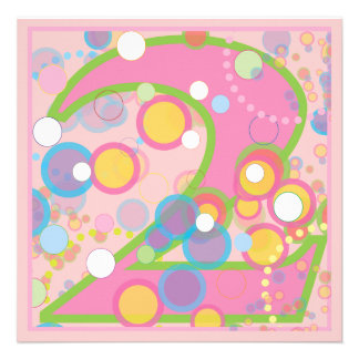 Colorful Bubbles 2nd Birthday Party Invitation
