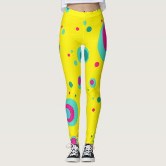 Colorful bubbles yellow whimsical design leggings