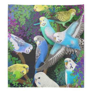 Colorful Budgerigar Parrots in Ferns Bandana