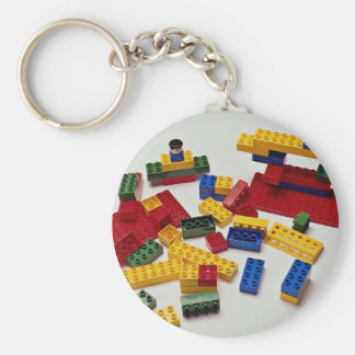 Colorful building blocks for kids basic round button key ring