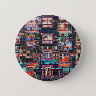Colorful Buildings Collage 6 Cm Round Badge