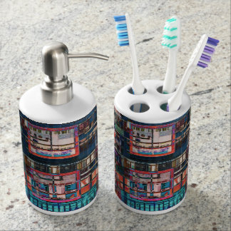 Colorful Buildings Collage Toothbrush Holder