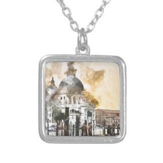 Colorful Buildings in Venice Italy Silver Plated Necklace