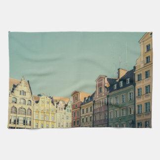 Colorful Buildings in Wroclaw, Poland Tea Towel