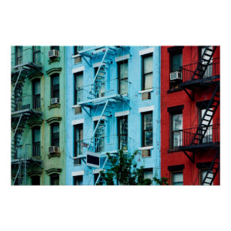 Colorful buildings with Fire escapes Poster
