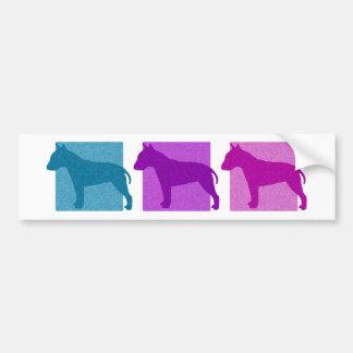 Colorful Bull Terrier Silhouettes Bumper Sticker