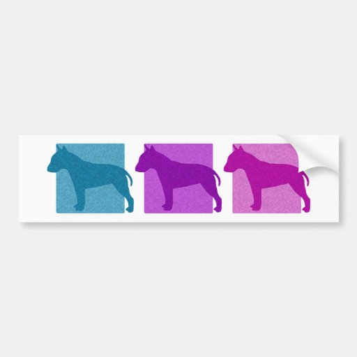 Colorful Bull Terrier Silhouettes Bumper Stickers