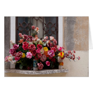 Colorful Bunch Of Plastic Roses Greeting Card