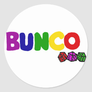 Colorful Bunco and Dice Art Classic Round Sticker