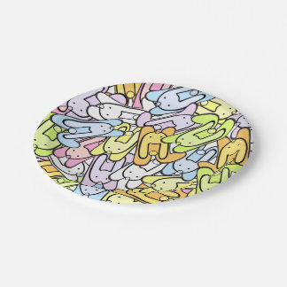 colorful bunnies paper plate