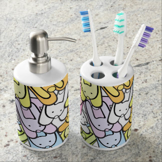 colorful bunnies soap dispenser and toothbrush holder