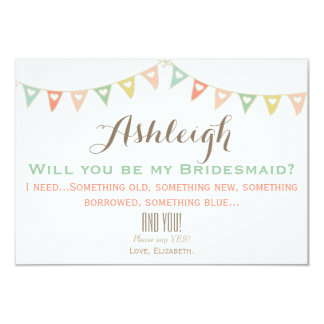 Colorful Bunting Will You Be My Bridesmaid? 9 Cm X 13 Cm Invitation Card