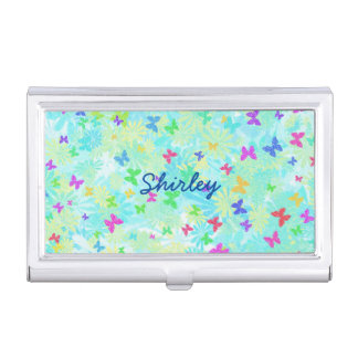 Colorful Butterflies and Daisies by Shirley Taylor Business Card Case
