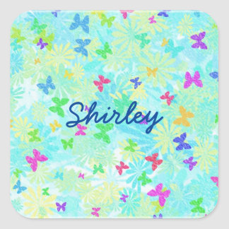 Colorful Butterflies and Daisies by Shirley Taylor Square Sticker