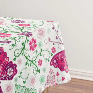 Colorful Butterflies And Flowers Pattern Tablecloth
