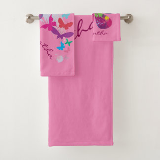 Colorful Butterflies Bath Towel Set